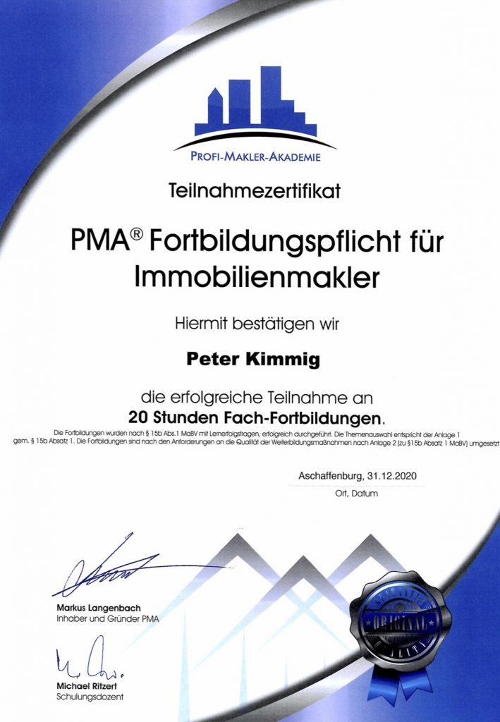 Zertifikat über PMA® Fortbildungspflicht